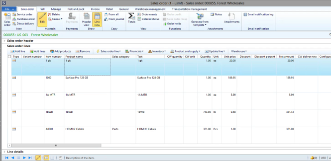 Image 15 – Newly Created Sales Order with Item Lines from Item List